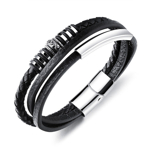 MSC  Stainless Steel Black Braided Multilayer Leather Magnetic Buckle Bracelet Unisex (JC10007)