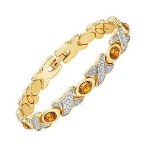 Fascinating Magnetic Therapy Bracelet for Ladies 2 Tones Shiny Silver and Gold Color Plating (MBA0097T)
