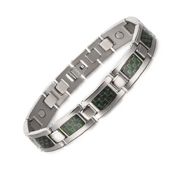 Charm Titanium Carbon Fiber Germanium Magnetic Bracelet for Men (ST081-Green)