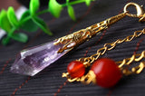 Natural Amethyst Healing Crystals Chakra Necklace Pendant for Women