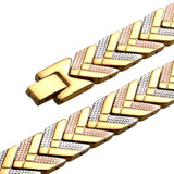 Fashionable 3-Tone Gold Magnetic Therapy Bracelet for Women (SMBA085T)