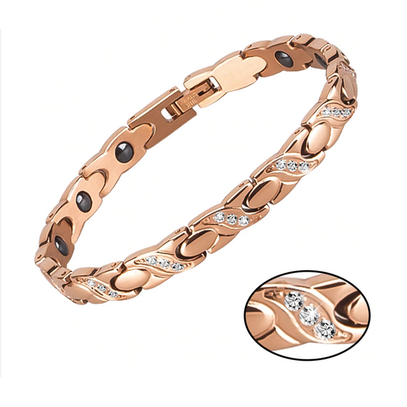 Auspicious Rose Gold Germanium Bracelet with Cubic Zirconia for Her (SBRM10324)
