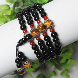 Natural Tibetan Black Quartz Healing and Protection Bracelet with Tiger's Eye Beads for Women