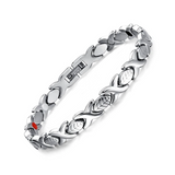 Fashionable Germanium Magnetic Therapy Bracelet for Women (SBRM047- Silver)