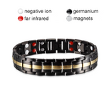 Stylish Punk Bio-Energy Magnetic Therapy Bracelet G4 Series For Men (SBRM087-Black Gold)