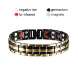 Stylish Punk Bio-Energy Magnetic Therapy Bracelet G4 Series For Men (SBRM087-Gold Black) (gold black)