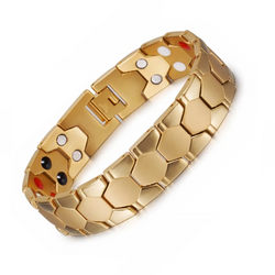 Stylish Bio-Energy Magnetic Therapy Bracelet for Men (SBRM088B-Gold)