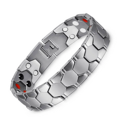 Stylish Bio-Energy Magnetic Therapy Bracelet for Men (SBRM088B-Silver)
