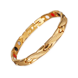Stylish Gold Color Magnetic and Germanium Therapy Bracelet for Women (ST058-Gold)