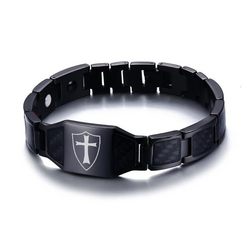 Macho Germanium Magnetic Carbon Fiber Engrave-able Therapy Bracelet For Men (ST102-Black)