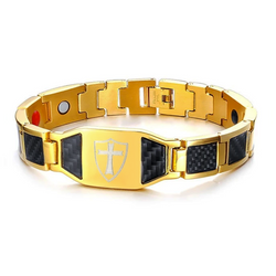 Macho Germanium Magnetic Carbon Fiber Engrave-able Therapy Bracelet For Men (ST102-Gold)