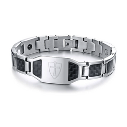 Macho Germanium Magnetic Carbon Fiber Engrave-able Therapy Bracelet For Men (ST102-Silver)