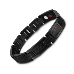 Trendy Titanium Carbon Fiber Germanium Magnetic Bracelet for Men (ST124-Black)