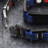 Trendy Titanium Carbon Fiber Germanium Magnetic Bracelet for Men (ST124-Blue)