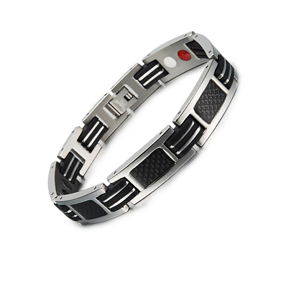 Trendy Titanium Carbon Fiber Germanium Magnetic Bracelet for Men (ST124-Silver)