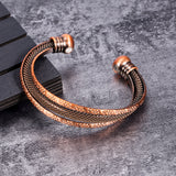 Stylish Antique Bronze Stacked Copper Magnetic Therapy Cuff Bracelet (CMBG0060)