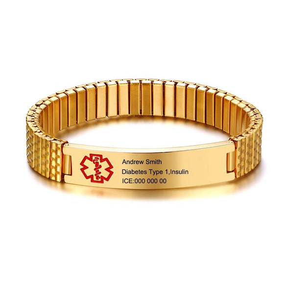 Free Engraving Elastic Chain Stainless Steel Medical Alert Bracelet - Unisex (BR0263-18)