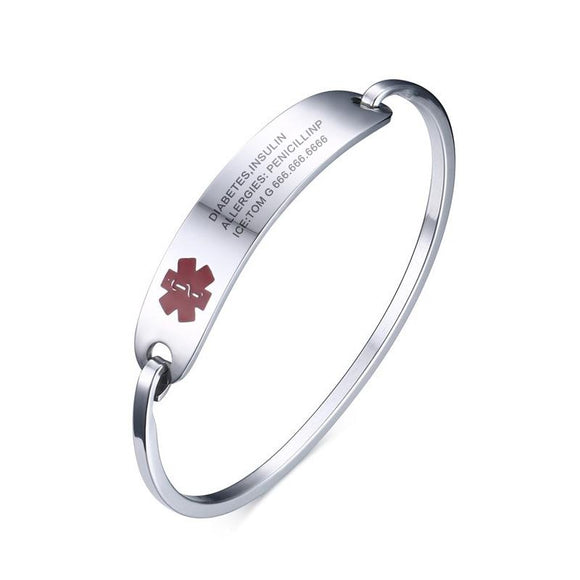 Free Engraving Stainless Steel Medical Alert Bracelet for Women (BR0117)