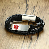 Medical Alert Id Bracelet with Multi-Layer Braided Leather and Free Engraving (BL349M)