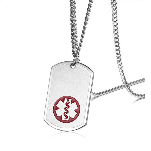 Free Engraving Stainless Steel Medical Alert Pendant/Necklace for Men (PN0922S)