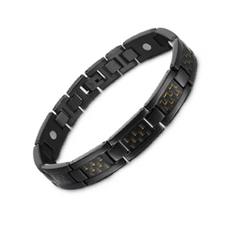 Charm Titanium Carbon Fiber Germanium Magnetic Bracelet for Men (ST069BY-Black Yellow)