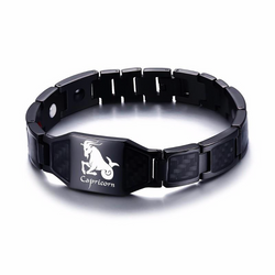 Lustrous Capricorn Zodiac Germanium Magnetic Therapy Bracelet with Hologram Carbon Fiber for Men (SBRM-093B)