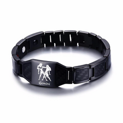 Lustrous Gemini Zodiac Germanium Magnetic Therapy Bracelet with Hologram Carbon Fiber for Men (SBRM-093B)