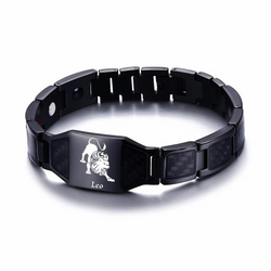 Lustrous Leo Zodiac Germanium Magnetic Therapy Bracelet with Hologram Carbon Fiber for Men (SBRM-093B)