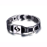 Lustrous Pisces Zodiac Germanium Magnetic Therapy Bracelet with Hologram Carbon Fiber for Men (SBRM-093B)