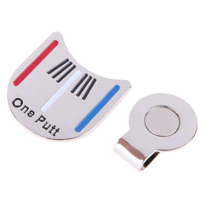 One Putt Magnetic Clip Golf Ball Marker and Putt Aligner