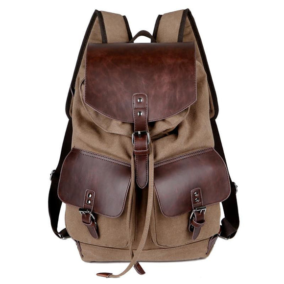 Metro Style Vintage Fashion Casual Canvas Leather  Backpack