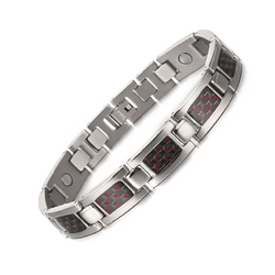 Charm Titanium Carbon Fiber Germanium Magnetic Bracelet for Men (ST081-Red)
