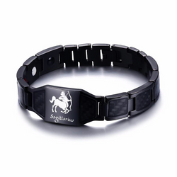 Lustrous Sagittarius Zodiac Germanium Magnetic Therapy Bracelet with Hologram Carbon Fiber for Men (SBRM-093B)