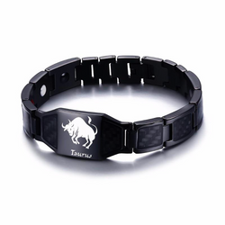 Lustrous Taurus Zodiac Germanium Magnetic Therapy Bracelet with Hologram Carbon Fiber for Men (SBRM-093B)
