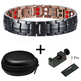 Stylish Gun-Powder Black Pure Copper Magnetic Germanium Therapy Bracelet for Men (SBRM10259)