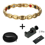 Magnetic Therapy Bracelet For Ladies Luxurious Gold Color Design (LF10263)