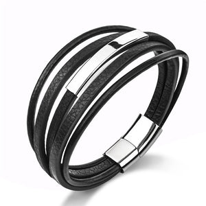 MSC  Stainless Steel Multilayer Leather Black/Brown Loop Chain Magnetic Buckle Bracelet Unisex (JC10017)