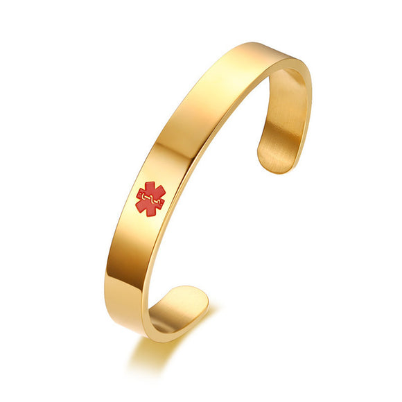 Free Engraving Cuff Medical Alert Bracelet for Men and Women (B125G-1)