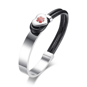 Free Engraving Charm Medical Alert ID Bracelet For Ladies (BR337BS)