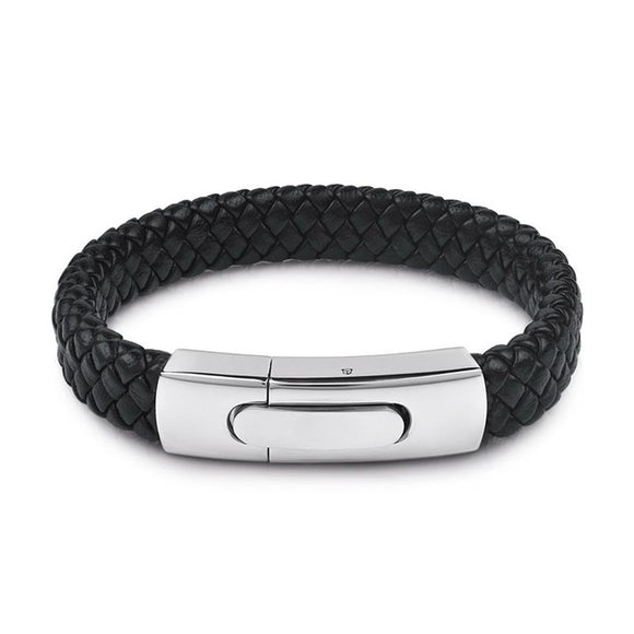MSC Silver and Black Color Stainless Steel Black Braided Leather Magnetic Buckle Bracelet Unisex (JC10029)