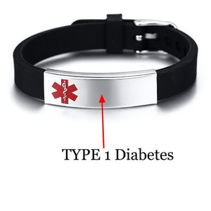 Free Engrave Medical Alert Bracelet with Adjustable Black Silicone Strap (BS074BS)