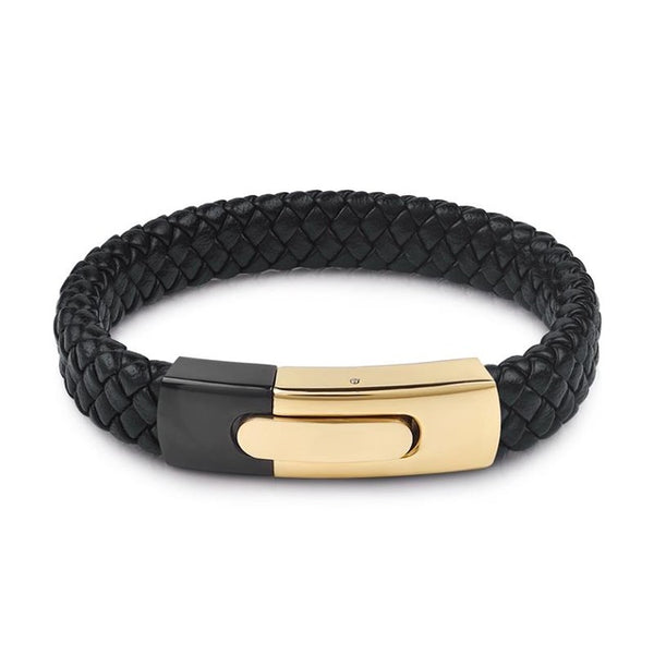 MSC Gold Color Stainless Steel Black Braided Leather Magnetic Buckle Bracelet Unisex (JC10027)
