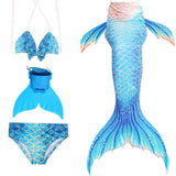 Complete Swimsuit, Costume Cosplay Set of Little mermaid Tails with Monofin for Girls 11 Colors