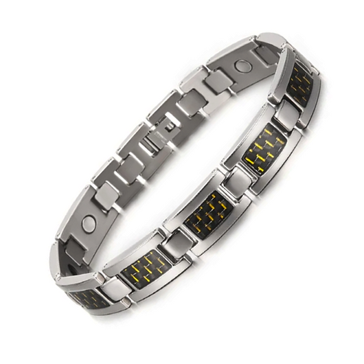 Charm Titanium Carbon Fiber Germanium Magnetic Bracelet for Men (ST081-Yellow)