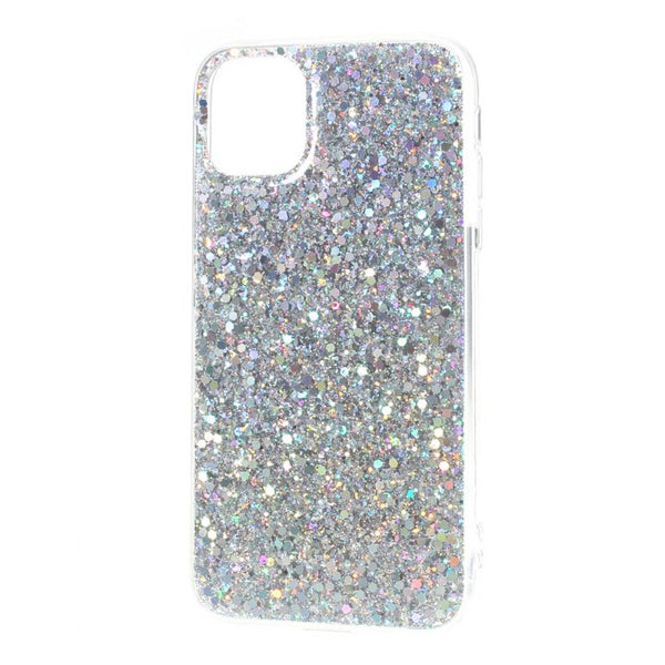 Husa Fusion Flash Powder Sequins Acrylic + TPU Hybrid Case for iPhone 11 - Silver
