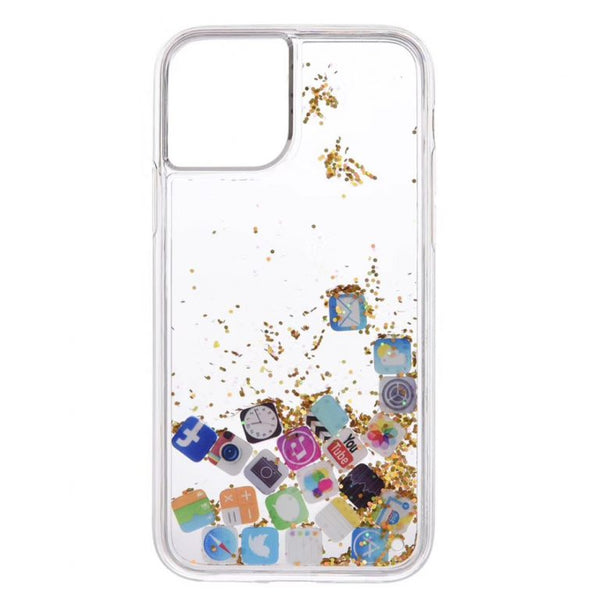 Husa Fusion APP Icon Dynamic Glitter Powder Sequins Case iPhone 11 Gold