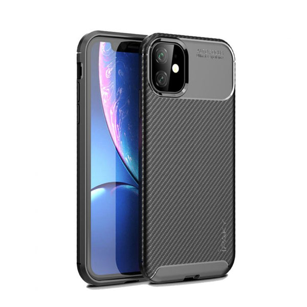Husa Fusion IPAKY Carbon Fiber Texture Soft TPU Back Shell iPhone 11