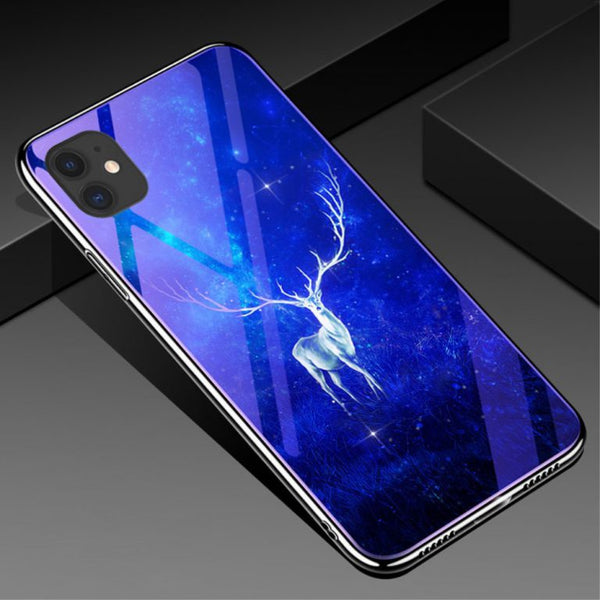 Husa Fusion Electroplated Blue-ray Tempered Glass Back Phone Cover Apple iPhone 11