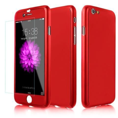Husa 360 Grade Plastic + Glass Iphone Xs Max, Red