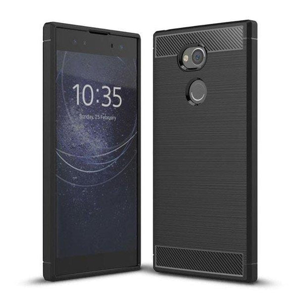 Husa Carbon Case Flexibila Tpu Sony Xperia Xa2 Plus Black